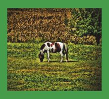 Spotted Horse Grazing at the Farm Photograph Painting Style Print Kids Tee