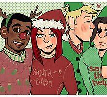 Santa & her merry crew by Airafleeza