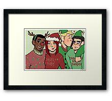 Santa & her merry crew Framed Print