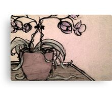 Charcoal Orchids Canvas Print