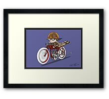 MOTORCYCLE EXCELSIOR STYLE (blue) Framed Print