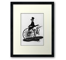 STEAMPUNK PENNY FARTHING BICYCLE (BLACK AND WHITE) Framed Print