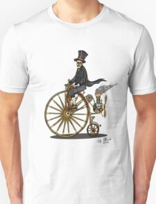 STEAMPUNK PENNY FARTHING BICYCLE (BLACK AND WHITE) Unisex T-Shirt