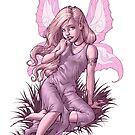 Bashful Fairy in Purple and White by Al Rio by alrioart