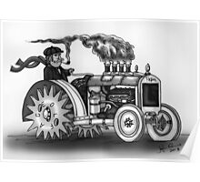 VINTAGE STEAMPUNK TRACTOR (BLACK AND WHITE) Poster