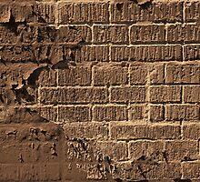 Textured red bricks wall digital art  by Ron Zmiri