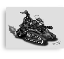 STEAMPUNK 'CAN AM' SPYDER STYLE KNIGHT RIDER MOTORCYCLE (BLACK AND WHITE) Canvas Print