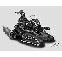 STEAMPUNK 'CAN AM' SPYDER STYLE KNIGHT RIDER MOTORCYCLE (BLACK AND WHITE) Photographic Print
