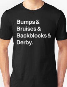 Bumps & Bruises & Backblocks & Derby (white) T-Shirt