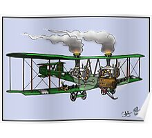 WORLD WAR ONE BOMBER AEROPLANE VICKERS VIMY STYLE STEAMPUNK Poster