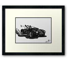 STEAMPUNK AC COBRA CAR (BLACK AND WHITE) Framed Print