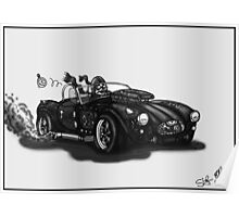 STEAMPUNK AC COBRA CAR (BLACK AND WHITE) Poster