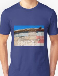 Grunge wall with clear blue sky Unisex T-Shirt