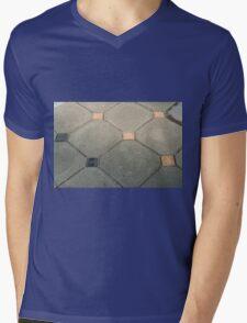 Details of geometric gray stone garden tiles Mens V-Neck T-Shirt