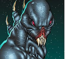 Red Eyed Evil Alien Sci-Fi Monster by Al Rio by alrioart