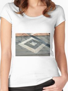 Details of geometric gray stone garden tiles Women's Fitted Scoop T-Shirt