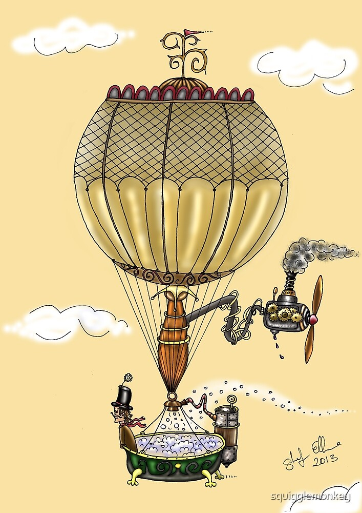 STEAMPUNK HOT AIR BALLOON (Gold) by squigglemonkey