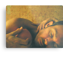 Reclining Male with Orange Metal Print