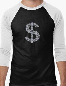 Diamond Dollar Sign Bling Men's Baseball ¾ T-Shirt