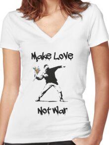 Make Love, Not War Women's Fitted V-Neck T-Shirt