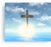 Wooden Cross above the water Canvas Print