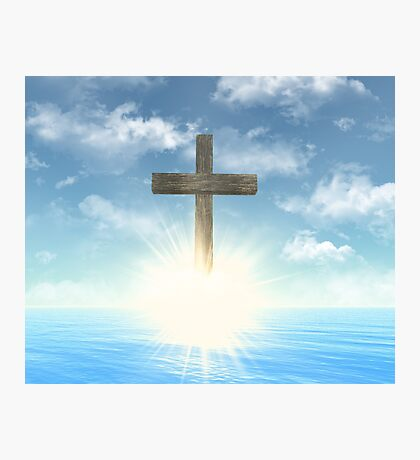 Wooden Cross above the water Photographic Print