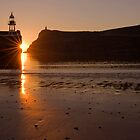 sun set over Port Erin Bay by kathywaldron