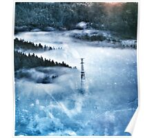 Electricity Pylon in the Mist Poster