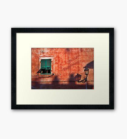 Italian window and streetlamp Framed Print