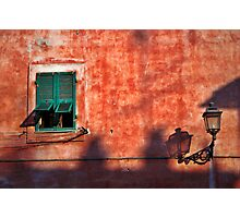 Italian window and streetlamp Photographic Print