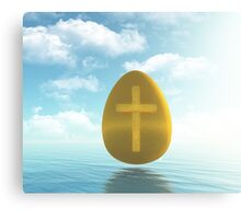 Easter golden Egg with Cross Canvas Print