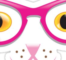 Really cute kitty cat with hipster glasses  Sticker