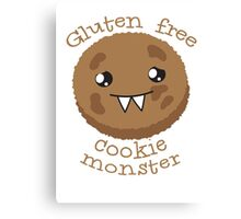 Gluten Free Cookie Monster with cute kawaii biscuit Canvas Print