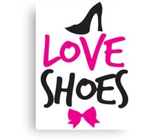 LOVE SHOES with funky fashion black shoes and a bow Canvas Print