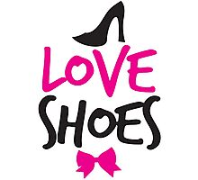 LOVE SHOES with funky fashion black shoes and a bow Photographic Print