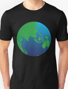 World globe with Australia India Asia and the Middle East Unisex T-Shirt