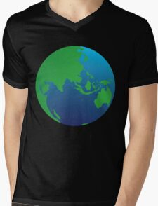 World globe with Australia India Asia and the Middle East Mens V-Neck T-Shirt