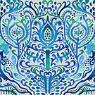 Sapphire and Emerald Watercolor Tulip Damask by Tangerine-Tane