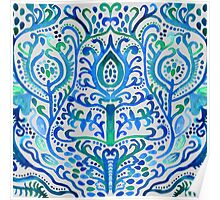 Sapphire and Emerald Watercolor Tulip Damask Poster