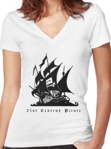 21st Century Pirate Women's Fitted V-Neck T-Shirt