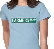 Farmers Boulevard Sign Womens Fitted T-Shirt