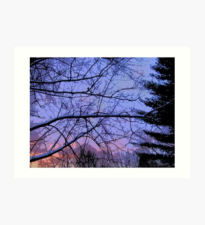Comic Abstract Trees in Snowy Sunset Art Print