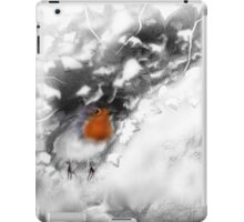 Traditional Christmas Illustration: Robins on a Snow-covered Wall iPad Case/Skin