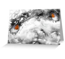 Traditional Christmas Illustration: Robins on a Snow-covered Wall Greeting Card