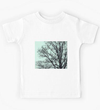 Fall Tree Silhouette Vector Green Kids Tee