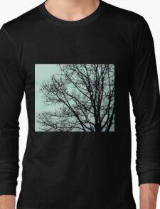 Fall Tree Silhouette Vector Green Long Sleeve T-Shirt