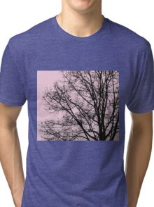 Fall Tree Silhouette Vector Pink Tri-blend T-Shirt
