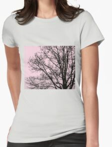 Fall Tree Silhouette Vector Pink Womens Fitted T-Shirt