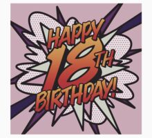 Comic Book HAPPY 18TH BIRTHDAY! pink One Piece - Short Sleeve