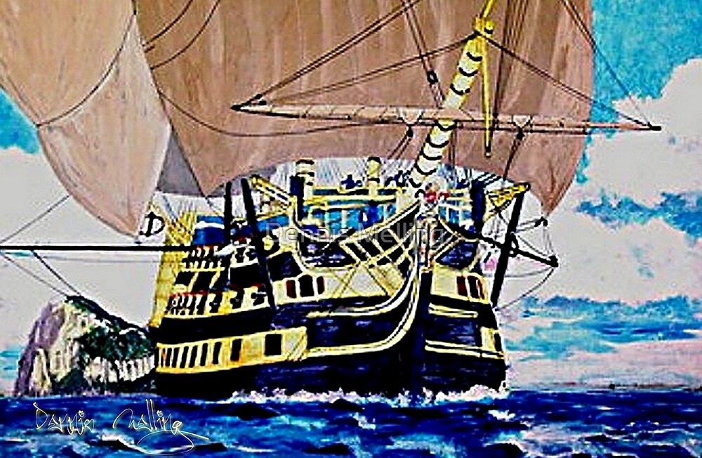 HMS Victory en route to the Battle of Trafalgar 1805 by Dennis Melling